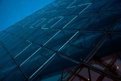 Blauwe LEIDENE de Futuristische Stijllichten Bouw stock afbeeldingen