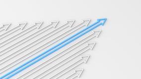 Blauwe leiderspijl Stock Foto