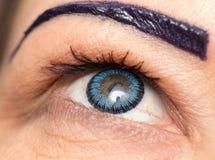 Blauwe lenzen in de ogen sluit royalty-vrije stock afbeelding