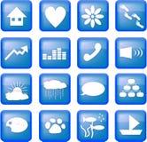 Blauwe levensstijlknopen Stock Foto's