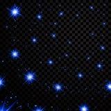 Blauwe lichte sterren op zwarte transparante achtergrond Abstract bokeh het gloeien ontwerp Glans heldere elementen Glanzende fan Stock Foto