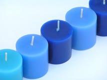 Blauwe lichten in een rij Stock Foto's
