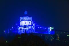 Blauwe Lichten op Monte-dei Cappuccini in Turijn, Italië Royalty-vrije Stock Afbeeldingen