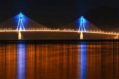 Blauwe lichten over overzees Stock Foto