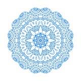 Blauwe lijn bloemen Indische mandala Stock Illustratie