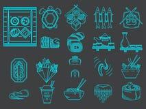 Blauwe lijnpictogrammen voor Japans menu Stock Afbeelding