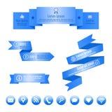Blauwe lintbanners en sociale media pictogrammen Vector infographic elementen Stock Foto's