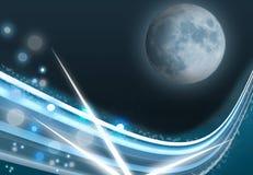 Blauwe maan op de abstracte kosmische achtergrond stock illustratie