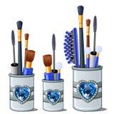Blauwe make-upborstels, mascara, kam, katoenen knoppen vector illustratie