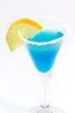 Blauwe Margarita met Citroen Stock Fotografie
