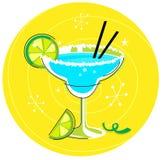 Blauwe Margarita: Retro cocktailpictogram Royalty-vrije Stock Afbeeldingen