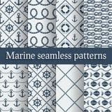 Blauwe mariene naadloze geplaatste patronen Stock Afbeelding
