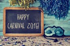 Blauwe masker en tekst gelukkig Carnaval 2016 Royalty-vrije Stock Afbeelding