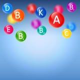 Blauwe medische achtergrond met vitaminen stock illustratie
