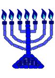 Blauwe Menorah - 7 Lampstand Stock Afbeelding