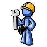 Blauwe mens die bouwvakker draagt Royalty-vrije Stock Afbeeldingen