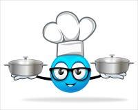 Blauwe mensenchef-kok met pot Royalty-vrije Stock Fotografie