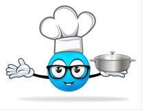Blauwe mensenchef-kok met pot Stock Fotografie