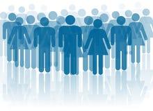 Blauwe mensensilhouetten Royalty-vrije Stock Afbeelding