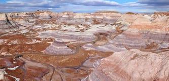 Blauwe Mesa in Van angst verstijfd Forest National Park, Arizona de V.S. Stock Foto