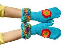 Blauwe met de hand gemaakte vuisthandschoenen Royalty-vrije Stock Foto