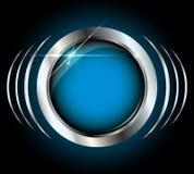 Blauwe metaal glanzende vectorknoop met copyspace Stock Foto