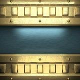 Blauwe metaalachtergrond met geel element Stock Foto's