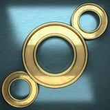 Blauwe metaalachtergrond met geel element Royalty-vrije Stock Fotografie