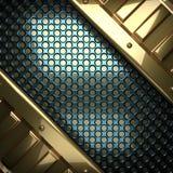Blauwe metaalachtergrond met geel element Royalty-vrije Stock Afbeeldingen