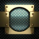 Blauwe metaalachtergrond met geel element Royalty-vrije Stock Foto's