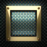 Blauwe metaalachtergrond met geel element Stock Afbeeldingen