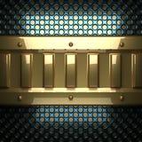 Blauwe metaalachtergrond met geel element Stock Fotografie