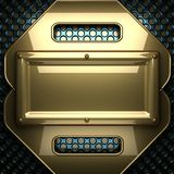 Blauwe metaalachtergrond met geel element Royalty-vrije Stock Afbeelding