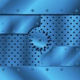 Blauwe metaalplaat en toestellen Stock Fotografie