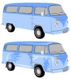 Blauwe minibus Royalty-vrije Stock Afbeelding