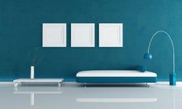 Blauwe minimale woonkamer Royalty-vrije Stock Afbeeldingen