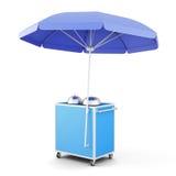 Blauwe mobiele kar met paraplu het 3d teruggeven Stock Foto