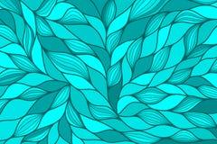 Blauwe moderne abstracte achtergrond met hand getrokken golven Vector illustratie Stock Afbeelding
