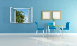 Blauwe moderne eetkamer Stock Afbeeldingen