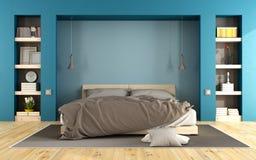 Blauwe moderne slaapkamer Royalty-vrije Stock Afbeeldingen