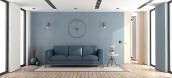Blauwe moderne woonkamer Royalty-vrije Stock Foto