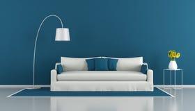 Blauwe moderne woonkamer Stock Afbeelding