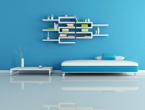 Blauwe moderne woonkamer Royalty-vrije Stock Foto's