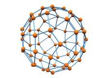 Blauwe molecule met oranje atomen Stock Afbeeldingen