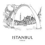 Blauwe Moscque, Istanboel, Turkije Hand gecreeerde schets royalty-vrije illustratie