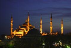 Blauwe Moskee bij nacht Stock Afbeelding