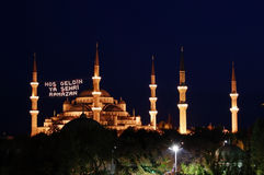 Blauwe Moskee bij nacht in Istanboel, Turkije Stock Foto's