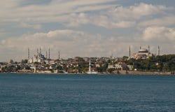 Blauwe Moskee en Hagia Sophia royalty-vrije stock afbeeldingen