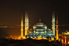 Blauwe moskee 's nachts Istanboel stock afbeeldingen