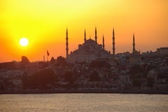 Blauwe Moskee of Sultan Ahmed Mosque-zonsondergang Stock Afbeelding